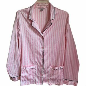 Victoria Secret pink &white striped pajama top S